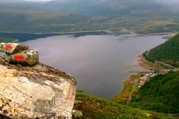 Utsikt over Stordalsvatnet og Stordalen Fjellstove etter at du har kommet opp fra Røyrdalen. -  Foto: Ukjent