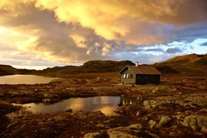Solnedgang ved Melands Grønahei