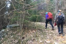 Gå opp langs bekken og ta til høyre mot Meåsen. Over et jorde og opp gammel ferdselsvei i enden av jordet (se kart) - Foto: