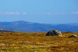 Fra toppen av Duottarnjunni 250 moh er det fin utsikt i alle retninger. Her ser man Searbačohkka 404 moh ved Polmakvann - Foto: Frank Martin Ingilæ