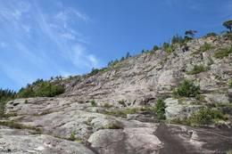 Nedre Granitthavet - ett flatt parti, 2/3 av stien er unnagjort nå. - Foto: Børge Rødsjø