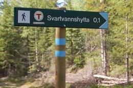 Markaskilt viser vei til hytta - Foto: Kari Merete Horne