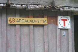 Skilt på Argaladhytta - Foto: Asbjørn Hadland