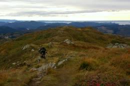 Utsikt sørover fra toppen av Totlandsfjellet. Toppen blir også jevnlig besøkt av terrengsyklister. -  Foto: Anders Søyland