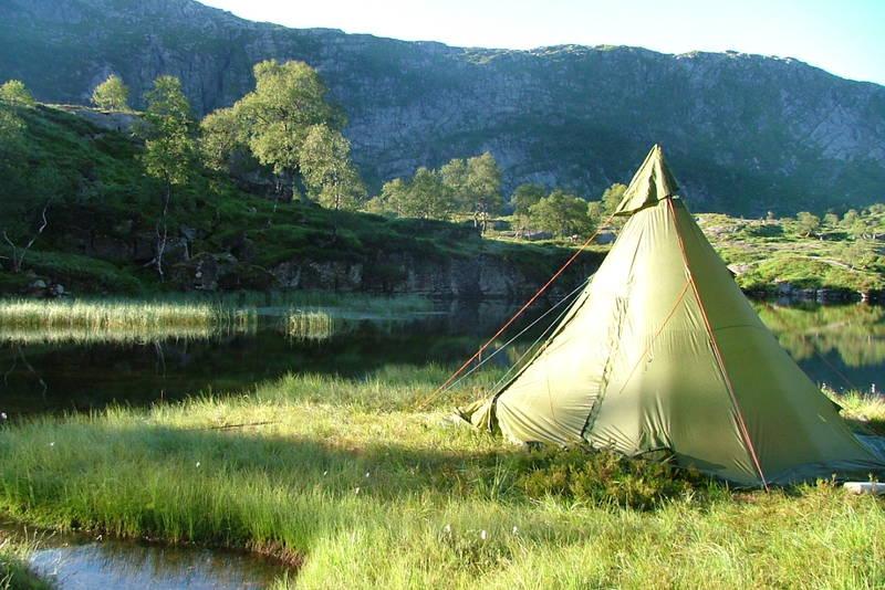 Familietur med telt og fiskestang til Fossvatnet ved Dyrkolbotn