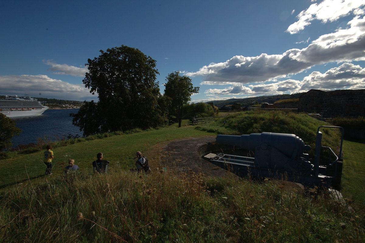 Vakker utsikt mot Drøbak og Drøbaksundet. Under tiden som Jacobine virket fergekvinne var det full opprusning på Oscarsborg.