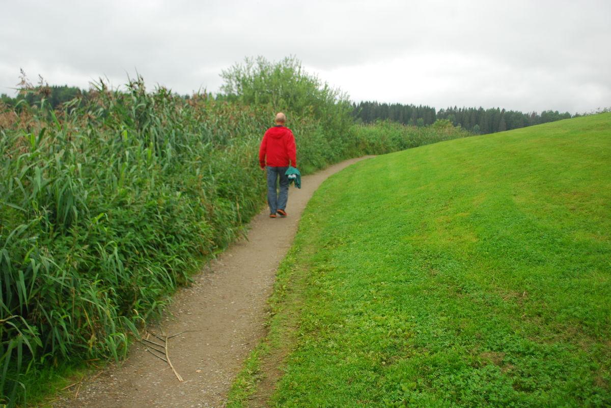 På østsiden av vannet har vegetasjonen vokst seg innover på turveien, og den er smal på enkelte partier. Mulig å benytte seg av gressplenen ved siden av.