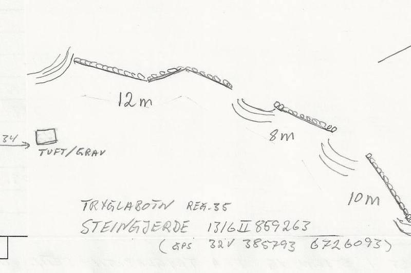 Skisse av steingjerde ved Knostebakk-kleivi