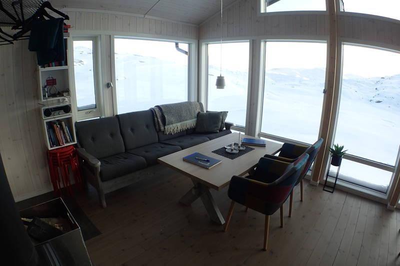 Sofagruppe med hyttebibliotek