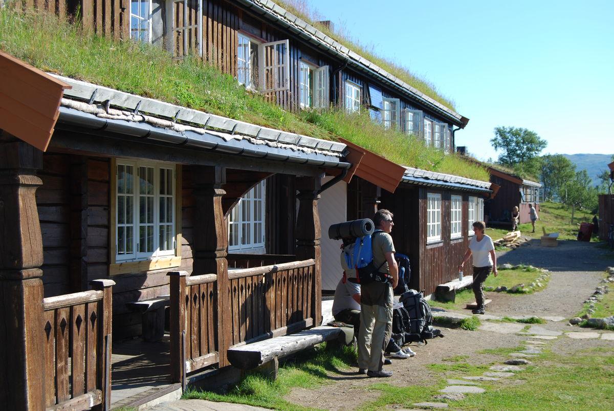 Inngangspartiet på hytta.