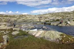 Hovatn bro som ligger i utosen på Hovatn. Bygget av 8 stålbjelker for å kunne tåle store snømengder - Foto: Kjell Herikstad