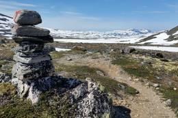 Varde ved Blekkbua. Vi ser vestover mot Raubergshytta og Raubergstela og Purkflåa - Foto: Birger Blomvik