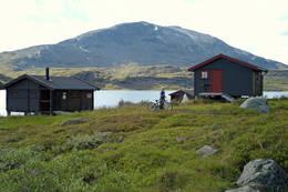 Dette er en populær hytte for småbarnsfamilier da det kan benyttes sykkel hele veien inn til hyttene  -  Foto: Clas Holmberg