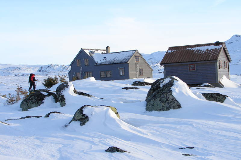 Etter lang skitur fra Garen, er det godt å komme frem til Hadlaskard.