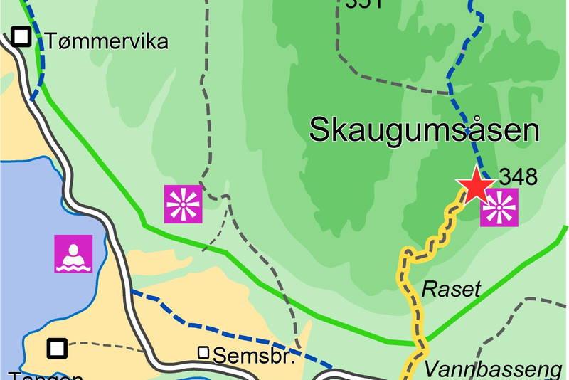 Kart over Skaugumsåsen
