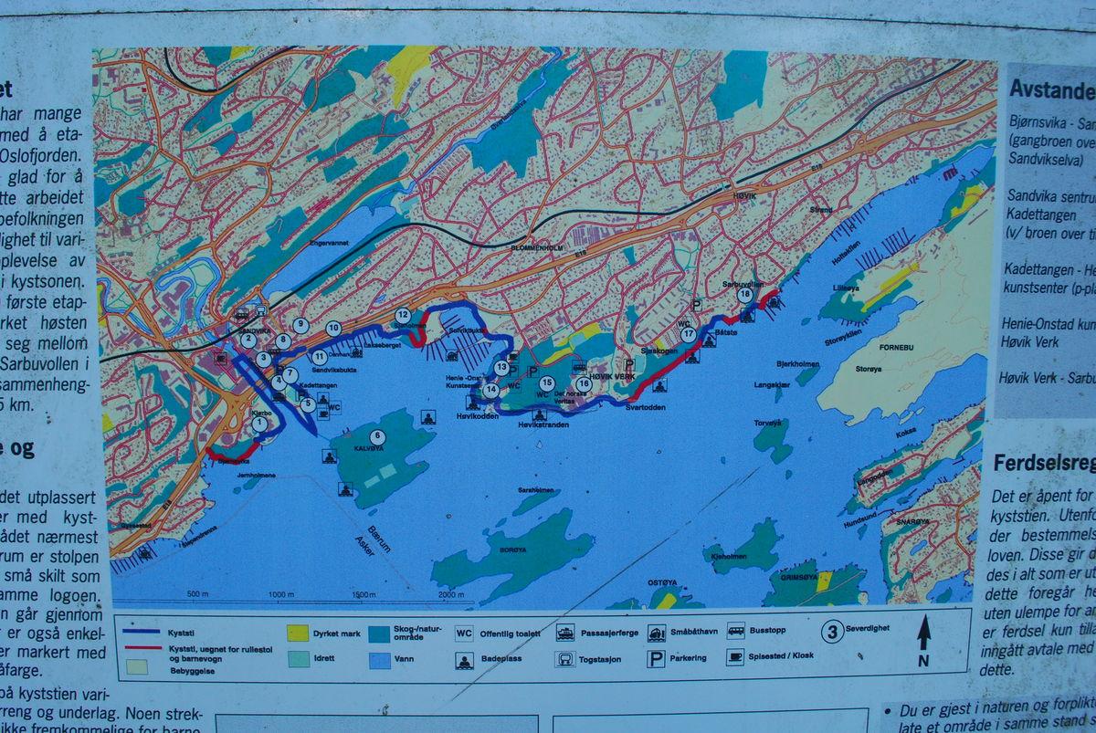 Kartet viser turveien rundt Høvikodden og videre.