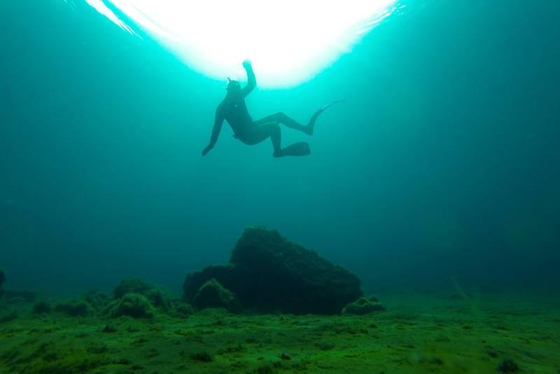 Lite liv i vannet, men utrolig god sikt!