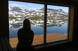 Utsikt fra badstuen - Foto: Solvei Kvinge