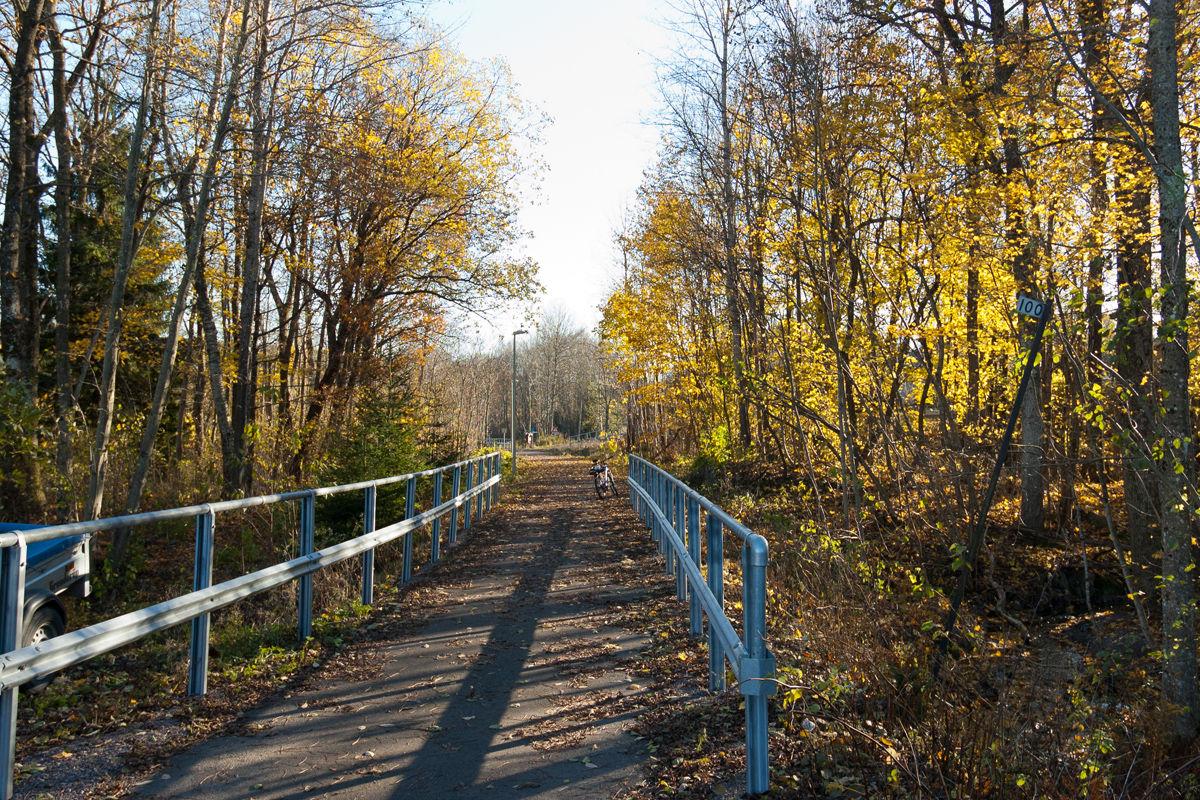 Sykkelsti på nedlagt jernbanebro.