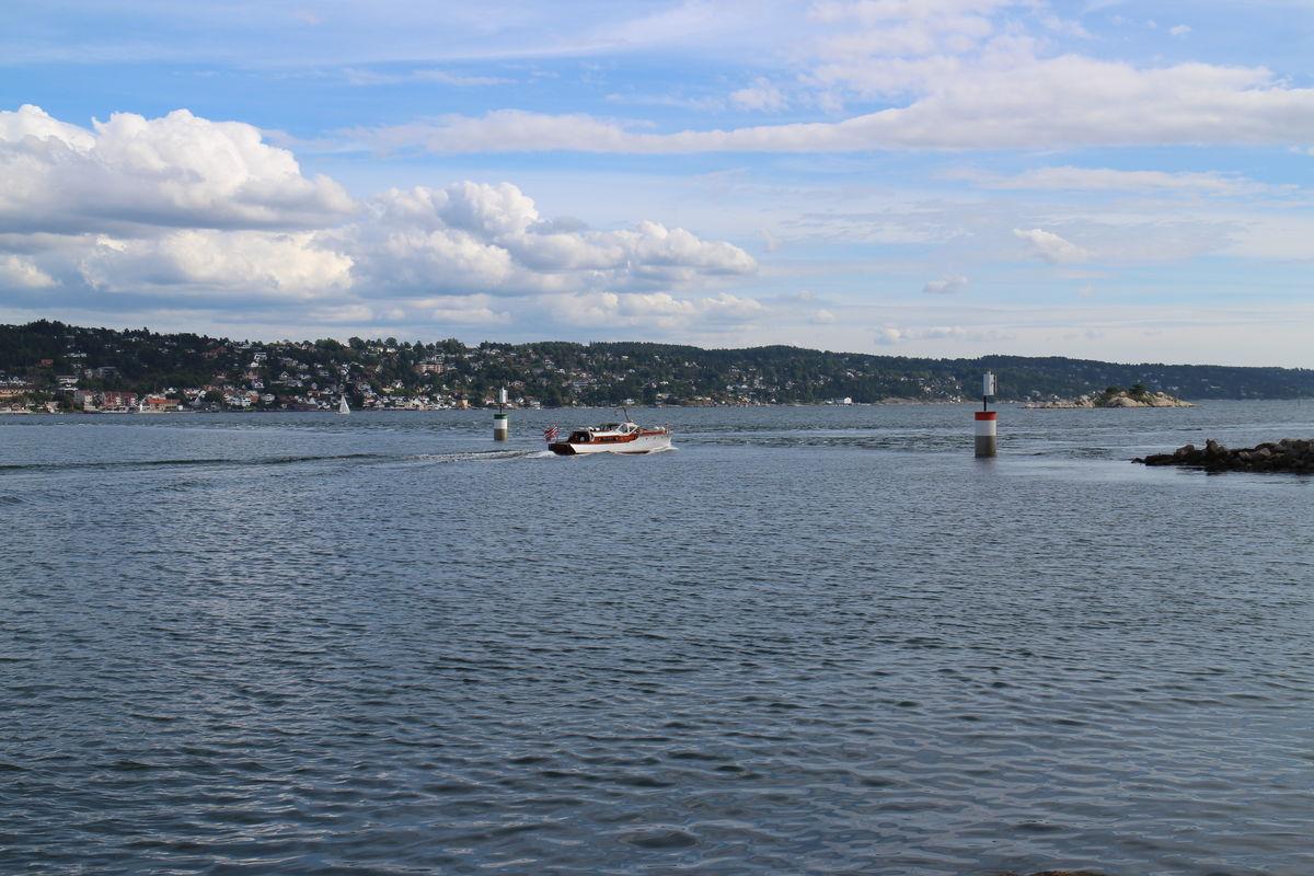 Utsikt fra Færgestad over jeteen til Drøbak.