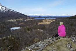 Utsikt mot Slettbakk og Lofotfjella langt der ute. -  Foto: Kjell Fredriksen