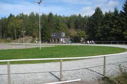 Veien går forbi ridebanen til Søgne videregående skole og Islandshestforeningen Gladur. - Foto: Floke Bredland