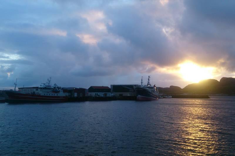 Fiskerihavna i solnedgang