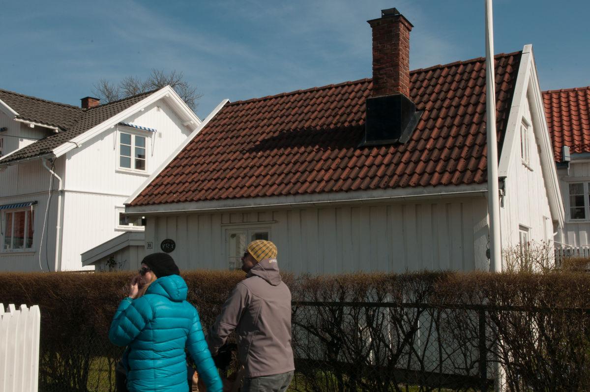 Jacobinestuen i Hamborgveien 10. Her bodde hun alene med sine 8 barn.