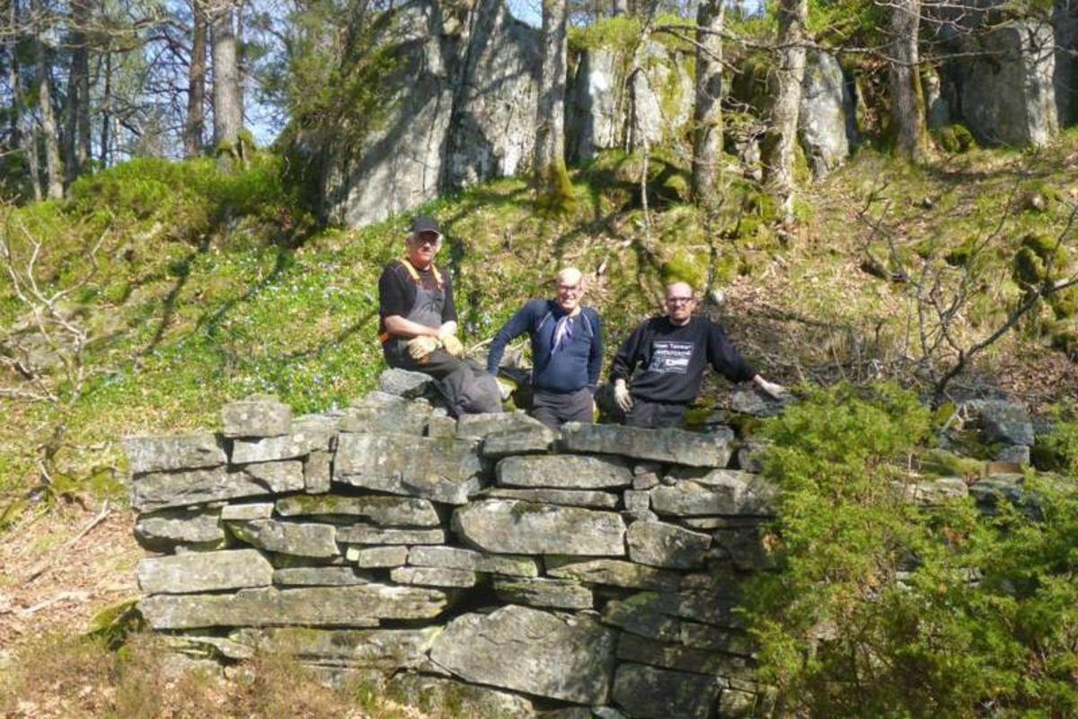 Noen karer fra Tveit ILs turløypegruppe står ved murene etter husmannsplassen på Ulsholmen.