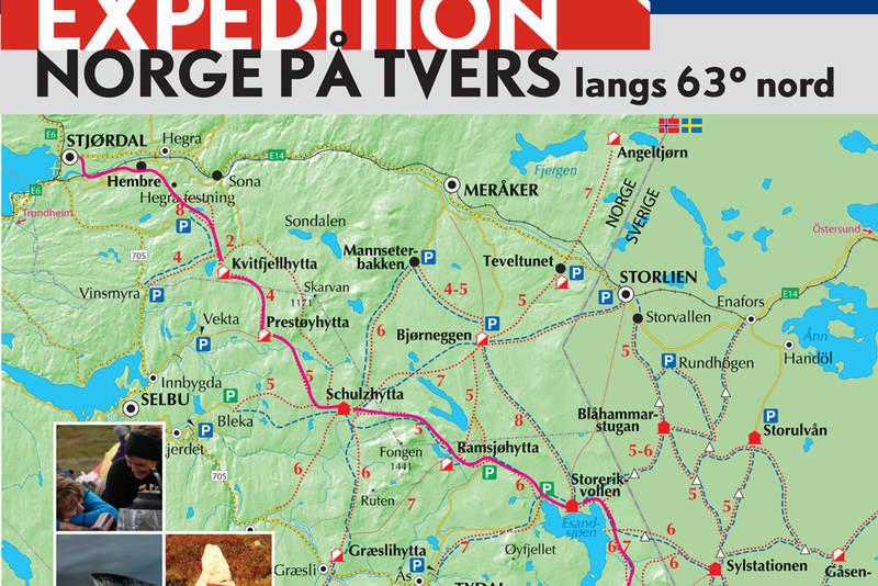 Turen går fra Svenskegrensa i Tydal til fjorden i Stjørdal, eller man kan gå motsatt vei.