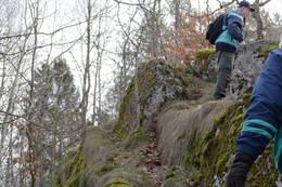 Siste delen av oppstigningen til Reirborgen. - Foto: Ukjent