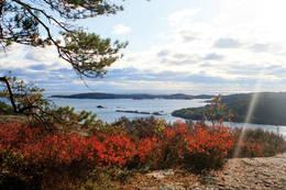 Fra Trulsvikknuten og ut mot skjærgården -  Foto: Aust Agder turistforening
