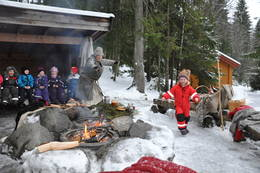Karine Mosedotten jakter på en mus under Julemoro på Sæteren Gård. - Foto: Jan Kenneth Gussiås