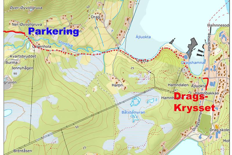 Kart viser veien fra Dragskrysset