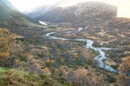 Fidjadalen sett fra terassen på hytta - Foto: Ukjent