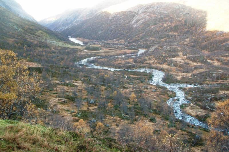 Fidjadalen sett fra terassen på hytta