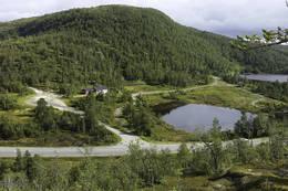 Utsikt ned mot skisenteret ved Skihytta - Foto: Kjell Fredriksen