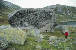 Storsteinen med hidleren har gitt navn til hele området og ligger bare noen få minutters gange fra hytta - Foto: Stavanger Turistforening