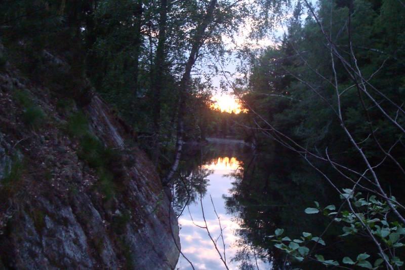 Utsikt fra kanotur på Øvresaga