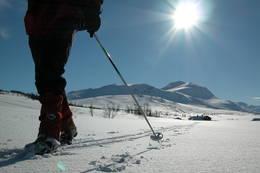På ski i Trollheimen. Svarthetta i bakgrunnen. - Foto: Jonny Remmereit