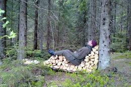 Godt med en liten hvil...Presthytta i Oslomarka, sommer 2010.  - Foto: Carl Leegaard
