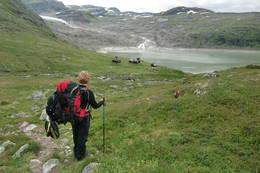 Endelig framme ved Rembesdalseter  - Foto: Per Gåsland
