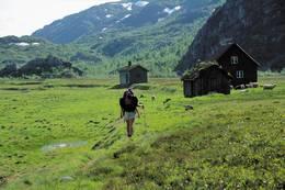 Kvanndalshytta ligge på en vakker stølsvoll omgitt av høye fjell - Foto: Stavanger Turistforening