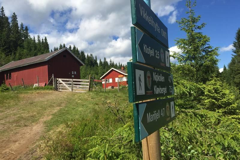 Vikkelihytta ligger fint til ved stiene til Marifjell og Klofjell.