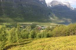Utsikt fra toppen mot Birtavarre -  Foto: Hugo Tingvoll