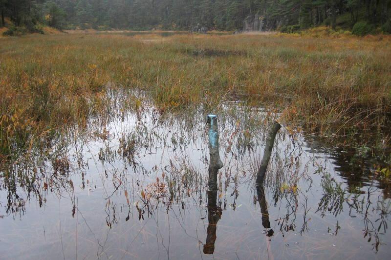 Litt overvann i løypa ved Kabbertjønn.