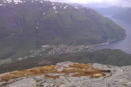 Stanghelle sett fra Storafjellet -  Foto: Nils E. Langhelle