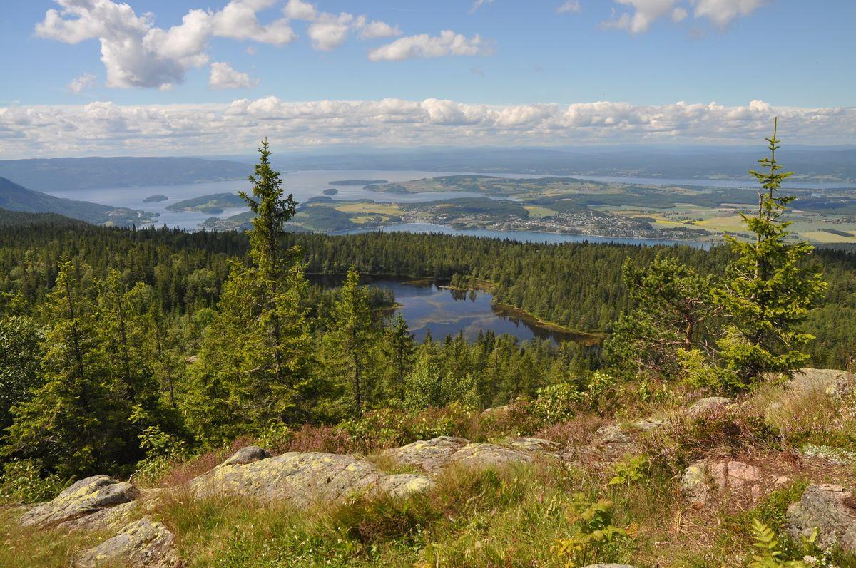 Utsikt fra Gyrihaugen, Steinsfjorden og videre sørover