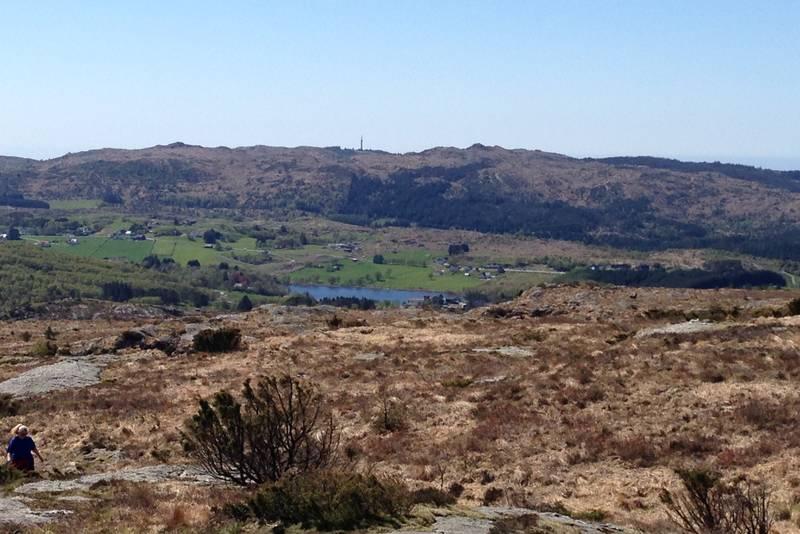 Utsikt vestover, Steinsfjellet i det fjerne.