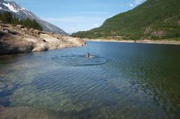 Mellom Kaldhussætervatna er det en nydelig badeplass - Foto: Olaug Bjørneset